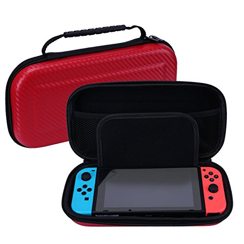 HDE Carrying Case for Nintendo Switch and Switch Lite Hard Case with 10 Game Cartridge Storage and Included Screen Protector Travel Carry All for Console and Accessories (Red) (Hde Computer Case)