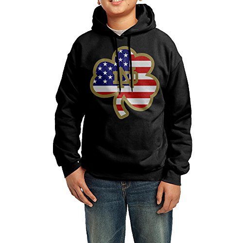 GGDD Youth University Of Notre Dame Hiphop Vintage Hoodie Hooded Sweatshirt Leisure Style L Black (Marilyn Monroe Costume For Kids)