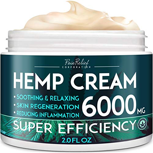 Hemp Pain Relief Cream (6000 Mg) - Natural Hemp Extract Cream for Arthritis, Back Pain & Muscle Pain Relief - Efficient Inflammation Cream & Carpal Tunnel Relief - Made in USA - Good for Skin Health