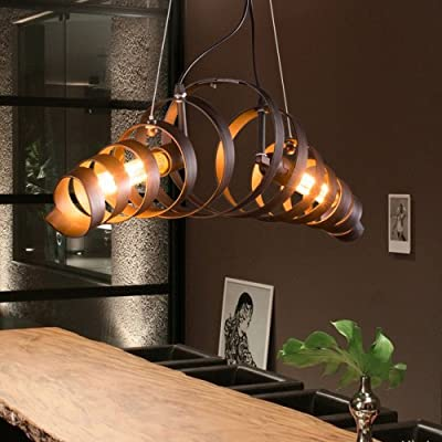 MKLOT Retro Industrial Style Iron Chandelier Light Spiral Helix Lighting Lamp 2-lights for Loft Bar Living Room Warehouse