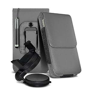 Samsung I9190 Galaxy S4 mini protección pu estuche de cuero de la correa de la pistolera del tirón de la cubierta del sostenedor de la caja con la aguja retractable de la pluma y de 360 ??Sostenedor giratorio del parabrisas del coche cuna Grey por Spyrox