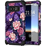 Galaxy Note 8 Case, Hocase Shockproof Heavy Duty Hybrid Silicone Rubber Bumper+Hard Shell Full Body Protective Phone Case w/ Cute Purple Peony Floral Design for Samsung Galaxy Note 8 2017 - Black
