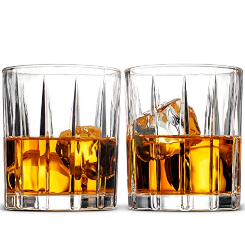Scotch Old (European Style Cocktail and Whiskey Glass Set of 2 - With Magnetic Gift Box - Aristocratic Exquisite Striped Design Whiskey Glasses 8 Oz. - for Liquor Alcohol Bourbon Scotch & Old Fashioned Cocktails)