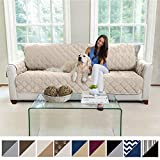 oversized sectional sofas MIGHTY MONKEY Premium Reversible X-Large Oversized Sofa Protector for Seat Width up to 78 Inch, Furniture Slipcover, 2 Inch Strap, Couch Slip Cover Throw for Pets, Dogs, Kids, Cats, Sofa, Beige Latte