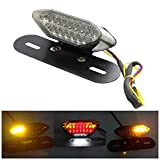 Universal LED Motorcycle Turn Signal Brake License Plate Integrated Tail Light with 16 Lamp Beads 8W 12V