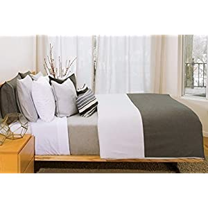 Image of 2 threads Duvet Cover in pale grey and charcoal