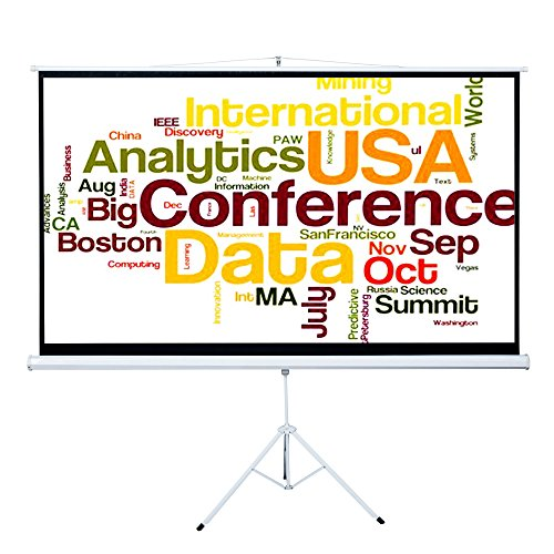 Cloud Mountain Tripod 100 Inch 16:9 HD Projector Adjustable Multi Aspect Ratio Projection Screen Portable Pull Up Stand