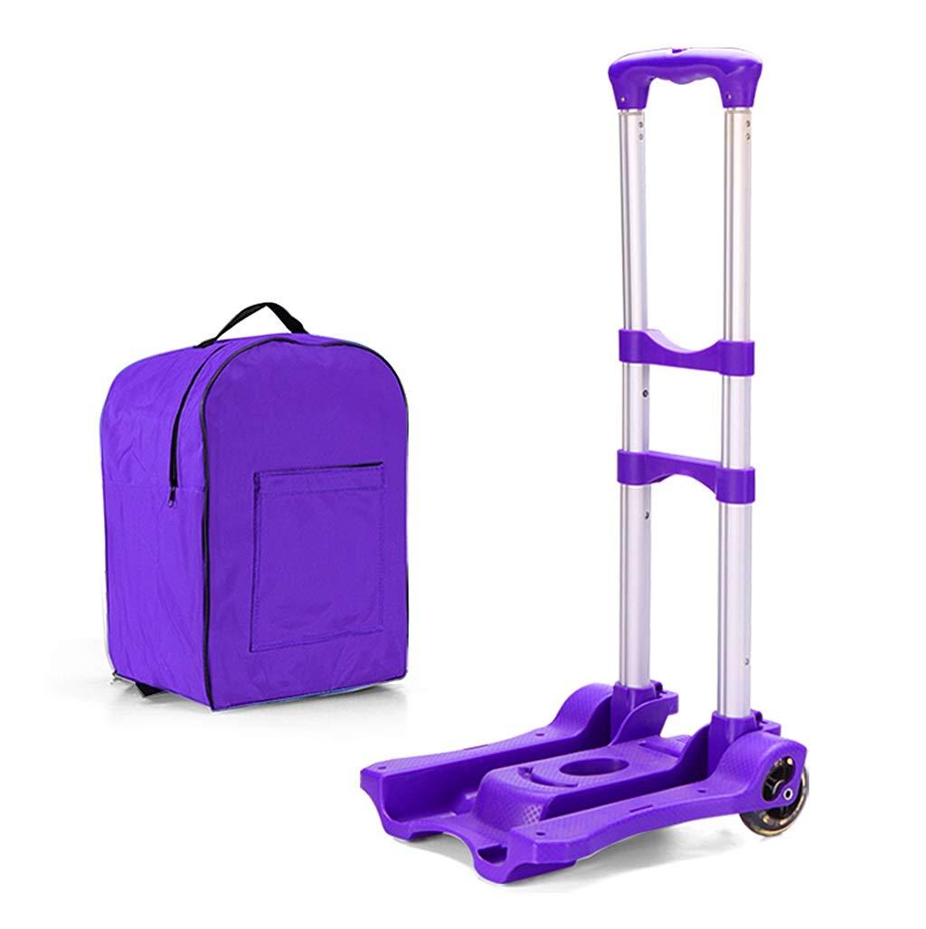 ショッピングバッグ付き携帯折りたたみハンドトロリー、軽量2輪ハンドカート重量調節可能なアルミ合金ラゲッジカート (色 : 紫の)  紫の B07QK9D4CF
