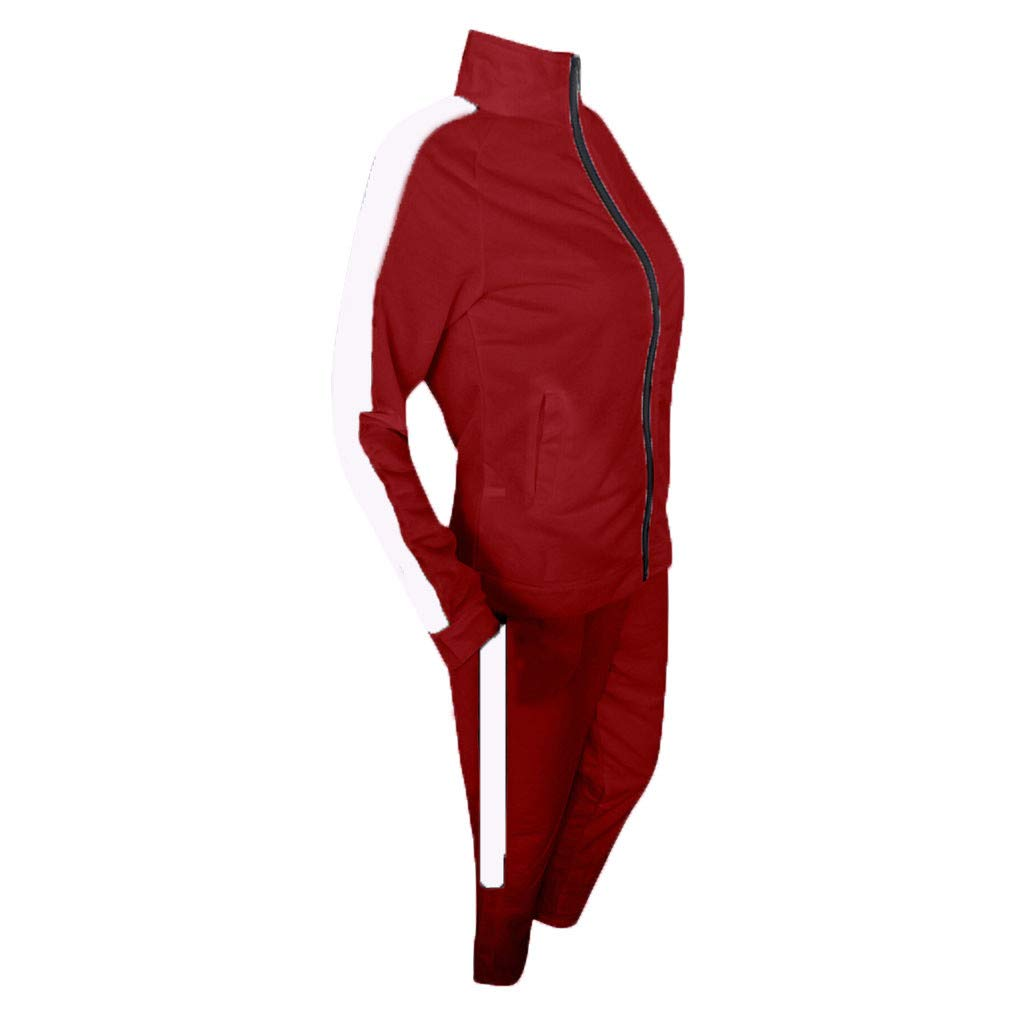 2Pcs Women/'s Solid Sports Gym Yoga Tracksuit Long Sleeve Zip Up Hoodie Pants Set