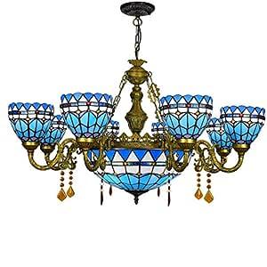LUYAQIG Art - Lámpara Colgante de Cristal de 8 Brazos ...