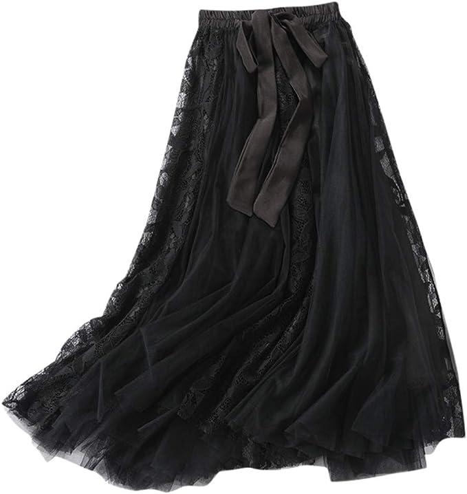 Damen Tüll Mesh Rock Elastische Hohe Taille Schichten Plissee Midi-Kleid Rock