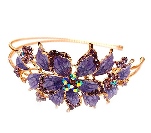 New purple Crystal Rhinestone gold tone metal big Flower design Headband #1212