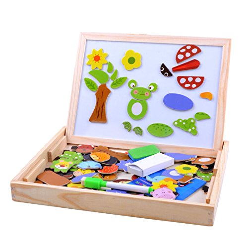 Wooden Magnetic Jigsaw Puzzles Games Toddler Toys Double Sided Drawing Easel for Kids (Set Tail Parts Body)
