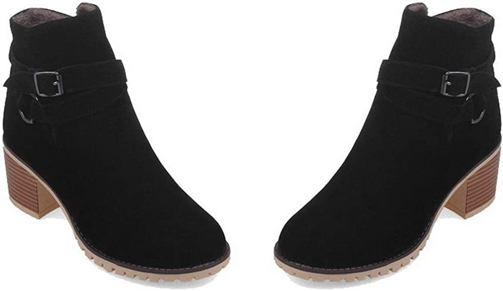 EGHXH016081 WeiPoot Womens Pull-On Round-Toe Kitten-Heels Frosted Ankle-High Boots