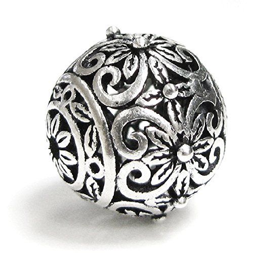 925 Sterling Silver Bali Round 12mm Flower Pattern Focal Ball Spacer - Sterling Bead Focal Silver
