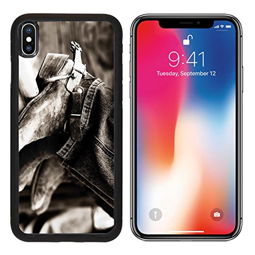 MSD Premium Apple iPhone X Aluminum Backplate Bumper Snap Case IMAGE ID: 612530 Rodeo cowboys experienced boots spurs on an iron rail shallow focus high contrast black white effect (Rodeo X-country Bumper)