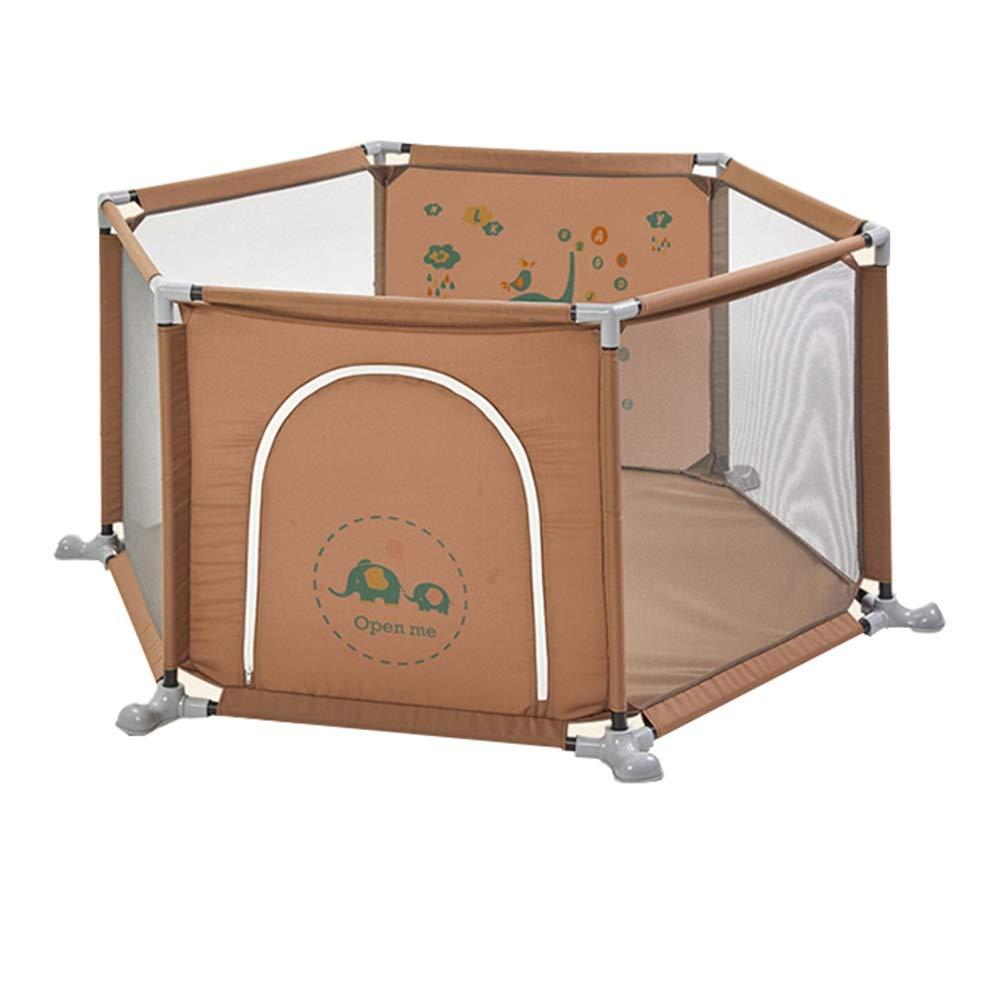 XIAOMEI,ベッドフェンス 幼児子供の遊び場屋内遊び場幼児フェンス安全柵ホームシンプル遊び場 家庭、屋外で使用されます (色 : ブラウン ぶらうん)  ブラウン ぶらうん B07R5WD84J