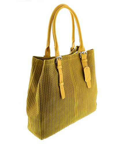 25c2a5269b Amazon.com: HS Collection HS 2078 GL ASPA Yellow Leather Tote/Shopper Bags  for womens: Shoes