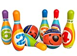 Kids Bowling Game 8 Piece (6 Pins and 2 Bowling Ball)Safe Mute Toys-Foam Developmental games Ages 4+