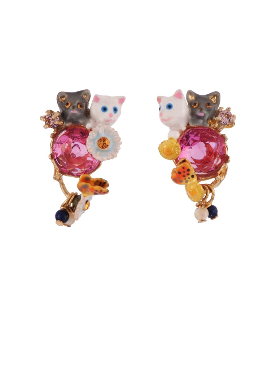 Les Néréides LITTLE CATS DUO WITH FACETED GLASS AND CHARMS EARRINGS - Fuchsia - O/S by Les Néréides