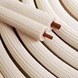 1/4'' - 1/2'' Insulated Copper Coil Line Set - Seamless Pipe Tube for HVAC, Refrigerant - 1/2'' White Insulation EZ Twin Set - 35' Long