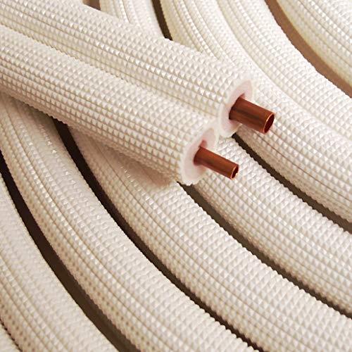 "1/4"" - 3/8"" Insulated Copper Coil Line Set - Seamless Pipe Tube for HVAC, Refrigerant - 1/2"" White Insulation EZ Twin Set - 25"