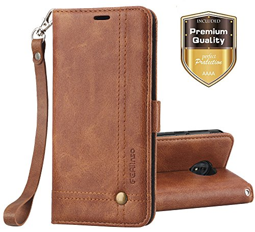 Moto G6 Plus Case, Ferlinso Elegant Retro Leather with ID Credit Card Slot Holder Flip Cover Stand Magnetic Closure Case for Moto G6 Plus-Brown (Retro Id Credit Card)