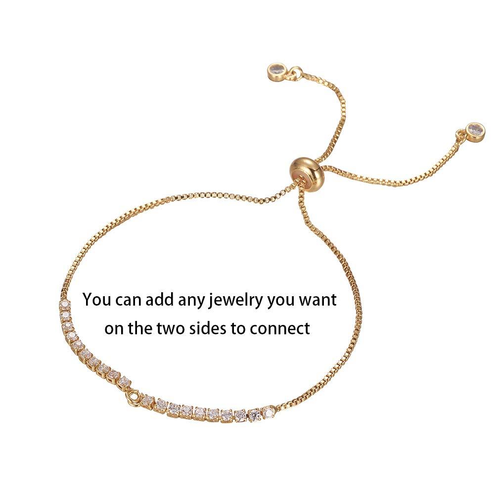 -P 254mm DanLingJewelry 10pcs Adjustable Slider Bracelet Slider Extender Chains Friendship Bracelets with Cubic Zirconia Beads for Women Girls Semi Finished DIY 10