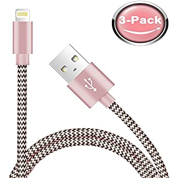 Ambet iPhone Lightning Cable to USB Cable- 3PCS 5 Feet (1.5 Meters) Rose Gold Cord -Sync apple iOS iPhone Charging Charger Cable for iPhone 7/SE/6s/6/ 5/5c/5s/Plus, iPad, iPod