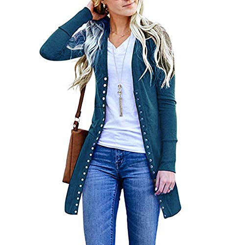 Down Long Front Fashion Casual Loose Plus Drape DOLDOA Open Womens Tops Blue Sleeve Cardigan Button Sweater nYnqR4g