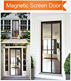 LEFULYN Magnetic Screen Door Mesh Curtain Full Frame Velcro Fits Door Size up to 35'' 82'' Max,Screen Door Keep Bugs Fly Out