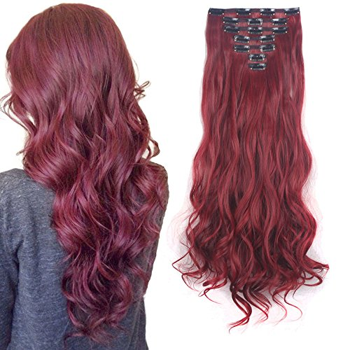 Price comparison product image 3-5 Days Delivery 7Pcs 16 Clips 24 Inch Wavy Curly Full Head Clip in on Double Weft Hair Extensions
