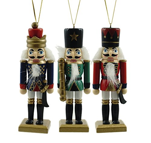 Traditional Nutcracker Hanging Christmas Ornament - Set of 3
