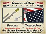 Grace Alley Wind Resistant / Rust Free Aluminum Flag Pole Kit Bundle