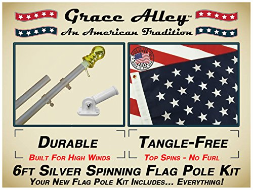 Grace Alley Flag Pole Kit: Tangle Free Flag Pole Kit include
