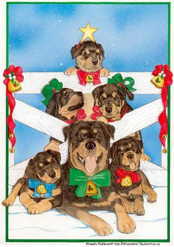 - Rottweiler Christmas Cards Family Tree : 10 Holiday Cards with Red Envelopes - ADORABLE!