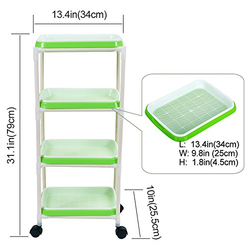 Seed Sprouter Trays with 4 Layers Shelf Soil-Free Healthy Wheatgrass Seeds Grower & Storage Trays for Garden Home by LeJoy Garden (Image #5)