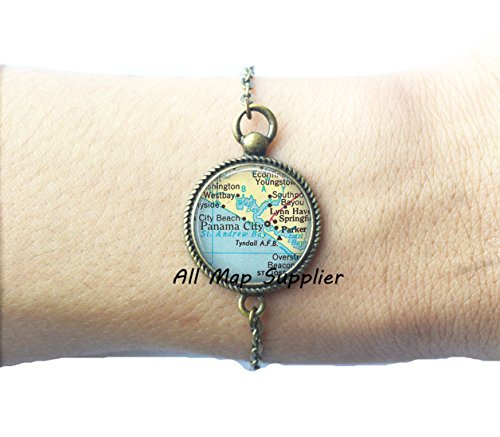 Charming Bracelet,Panama City, Florida map Bracelet, Panama City Bracelets, Tyndall Air Force Base, Parker, Florida Tyndall AFB Bracelet,A0280