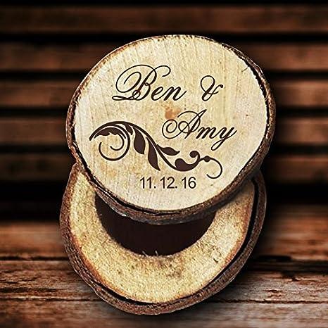 Caja de anillos de boda, de madera
