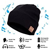 Vichannel 4.1 Bluetooth Beanie Hat Running Headphones Wireless Musical Knit Cap with Stereo Headsets & Mic Unique Christmas Tech gifts Winter hat for Women, Men, Boys and Girls (Black)