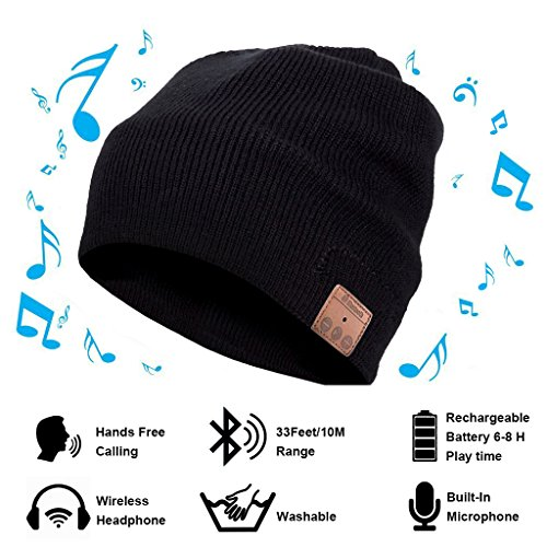 Price comparison product image Vichannel 4.1 Bluetooth Beanie Hat Running Headphones Wireless Musical Knit Cap with Stereo Headsets & Mic Unique Christmas Tech gifts Winter hat for Women, Men, Boys and Girls (Black)