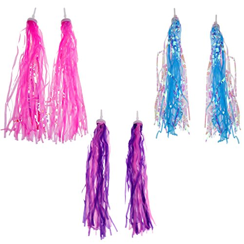 MonkeyJack 6 Pieces Bike Bicycle Cycling Tricycle Kids Girls Boys Handlebar Streamers Tassels Traditional Retro Decorative Streamers Summer Riding 3 Color ()