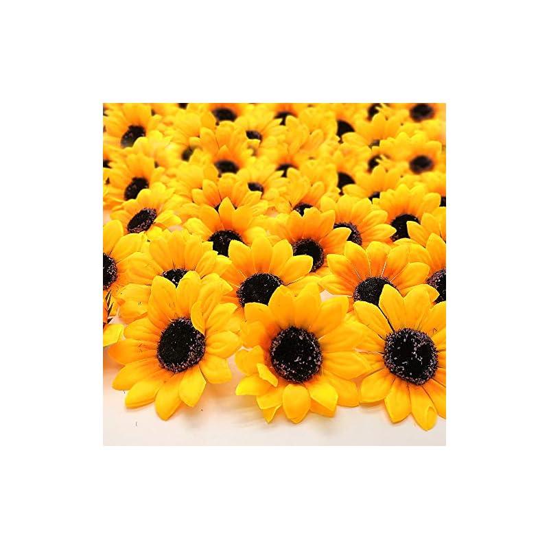 silk flower arrangements grunyia 100pcs artificial sunflower heads silk yellow 2.8 inch