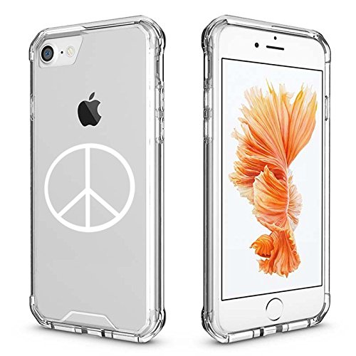 For Apple iPhone Clear Shockproof Bumper Case Hard Cover Peace Sign (White for iPhone 8 Plus)