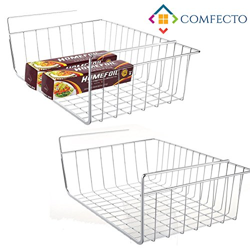 2 pcs Wire Basket Under Shelf Rack Organizer Space Saving Storage Fit Dual Hooks for Kitchen Pantry Wardrobe Desk Bookshelf Cupboard Cabinet - Premium Anti Rust Stainless Steel - Silver - Stacking Chrome Shoe Rack