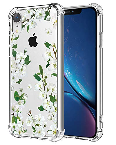Hi Space Floral Clear Case Compatible iPhone XR Release 2018, White Flower Flexible TPU Shockproof Transparent Girls and Women Floral Back Cover, Bumper Protective Case for iPhone XR 6.1 Inches