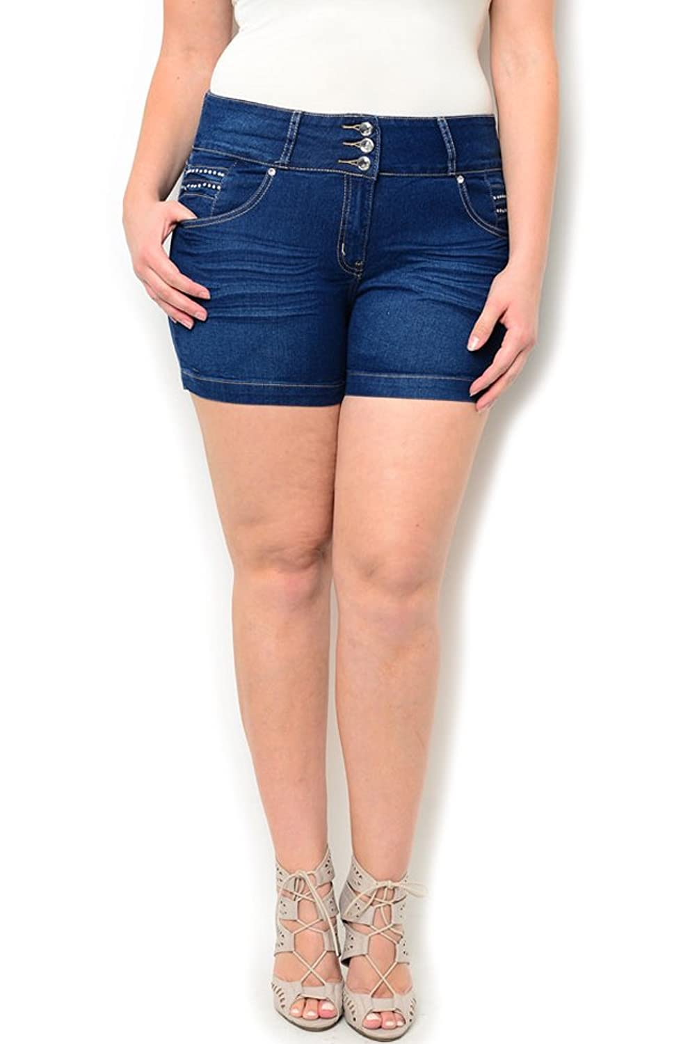 DHStyles Women's Plus Size 3 Button Jeweled Mini Denim Shorts