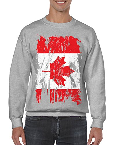 SpiritForged Apparel Distressed Canada Flag Crewneck Sweater, Light Gray - Edmonton Fit International