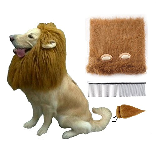 Liping Stor Lion Wig with Ears, Adjustable Washable Costume Pet Mane with Gift Tail and Comb for Medium to Large Sized Dogs