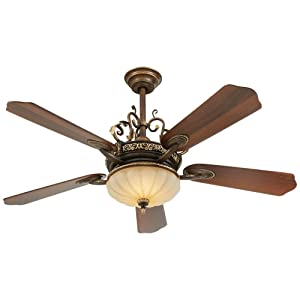 Home Decorators Collection Chateau Deville 52 Inch Integrated LED Indoor Walnut Ceiling Fan with Light Kit and Remote Control